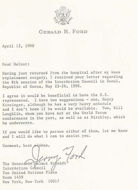 Letter from President Ford